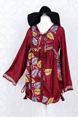Jude Tunic Top - Vintage Indian Sari - Maroon Shimmer Leaves (S/M)
