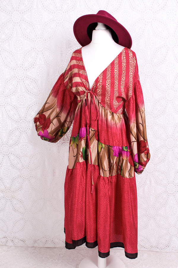 Gypsophila Midi Dress - Vintage Indian Sari - Rouge Red Floral Fade - Free Size