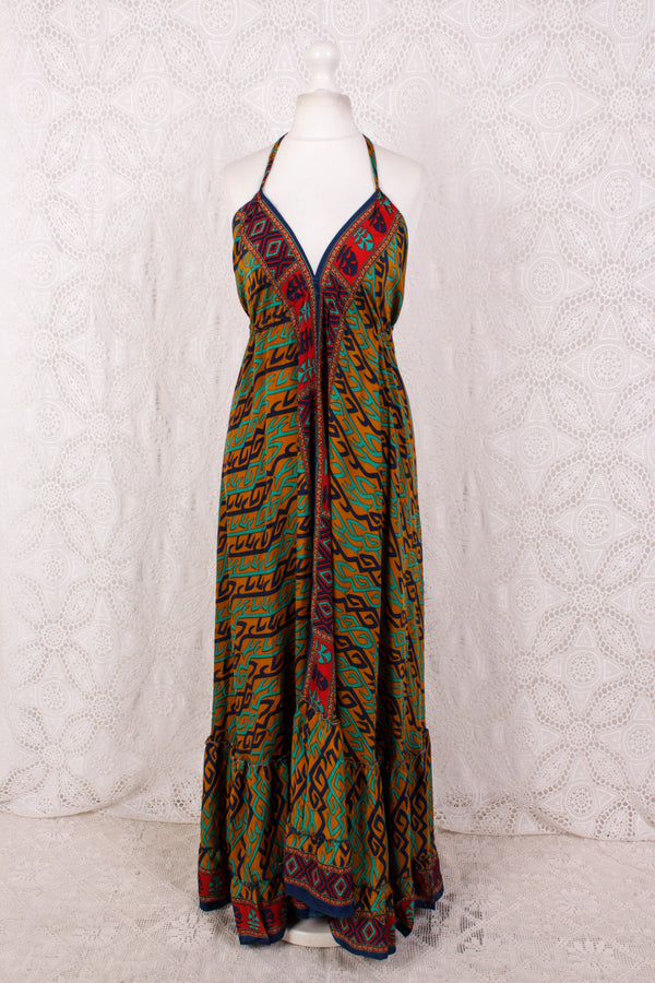 Blossom Halter-Neck Maxi Dress - Mustard, Navy & Green Graphic - Free Size M/L