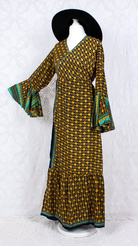 Sylvia Wrap Dress - Vintage Indian Sari - Mustard Yellow & Navy (free size)