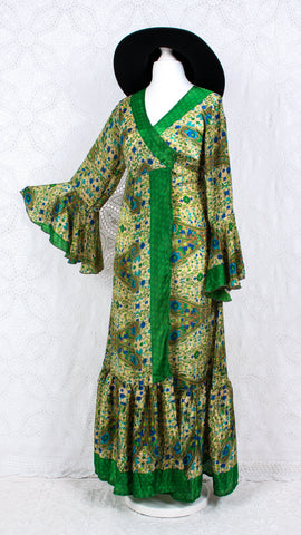 Sylvia Wrap Dress - Vintage Indian Sari - Gold & Grass Green Floral (free size)