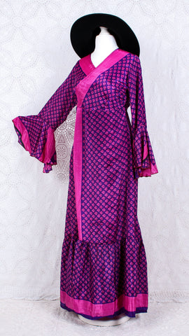 Sylvia Wrap Dress - Vintage Indian Sari - Purple & Pink Floral (free size)