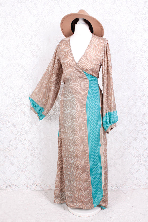 Lola Long Wrap Dress - Vintage Indian Sari - Oat & Sapphire Floral Nouveau - S/M