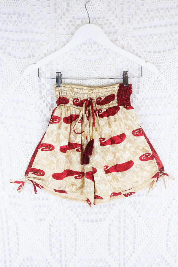 Lola Long Wrap Dress - Vintage Indian Sari - Khaki & Jade Flora Nouveau - M/L