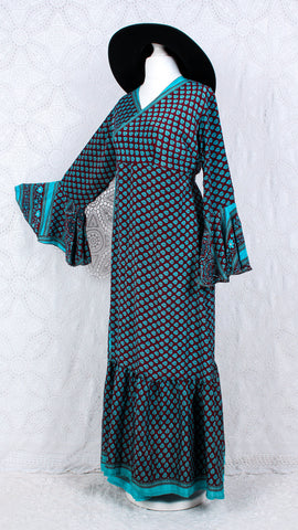 Sylvia Wrap Dress - Vintage Indian Sari - Maroon & Baby Blue (free size)