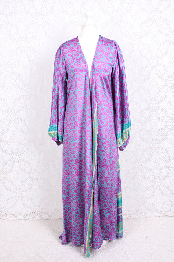 Lola Long Wrap Dress - Vintage Indian Sari - Magenta, Sea Blue & Lime Floral Vine - XL