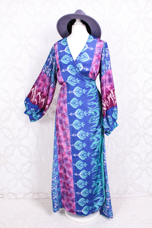 Lola Long Wrap Dress - Vintage Indian Sari - Cornflower, Sky & Magenta Rose Bud - XL