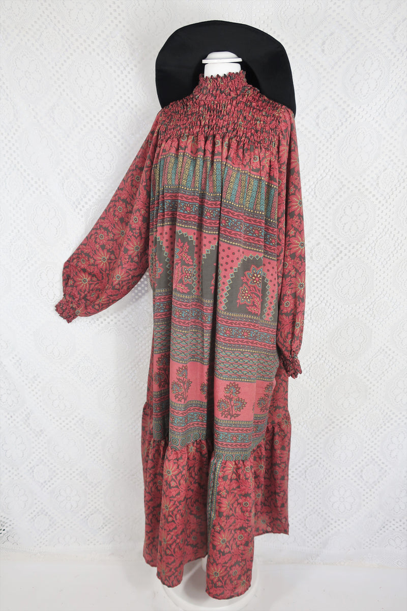 Mona Maxi Dress - Vintage Indian Sari - Rose Pink & Hazelwood - Free Size