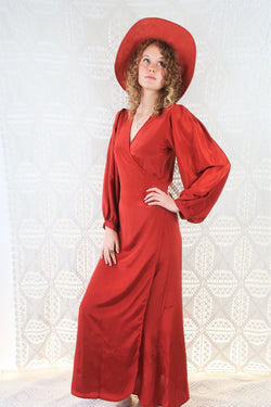 Lola Long Wrap Dress - Block Colour Chili Red - M/L