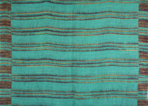 Turquoise, Gold & Berry Striped Indian Shawl/Blanket