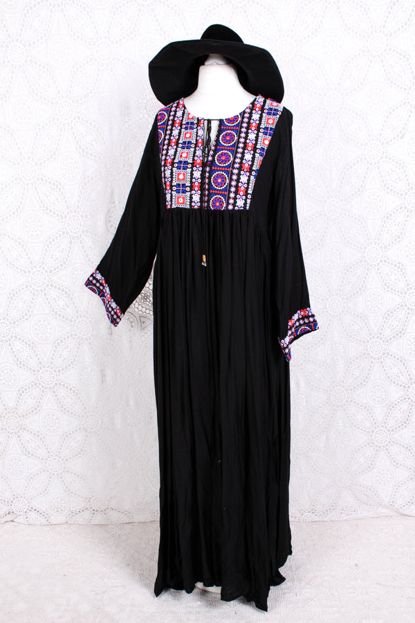 Black Rayon Maxi Smock Dress - Bright Red & Indigo Embroidery - Size M/L
