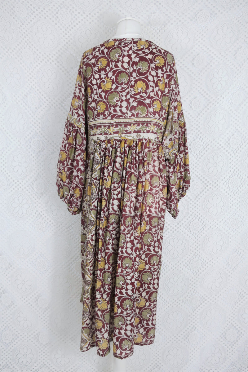 Daisy Midi Smock Dress - Vintage Indian Cotton - Muted Maroon Illustrations - M