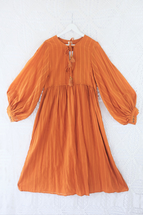 Primrose Dress - Block Colour Indian Cotton - Antique Amber - L/XL