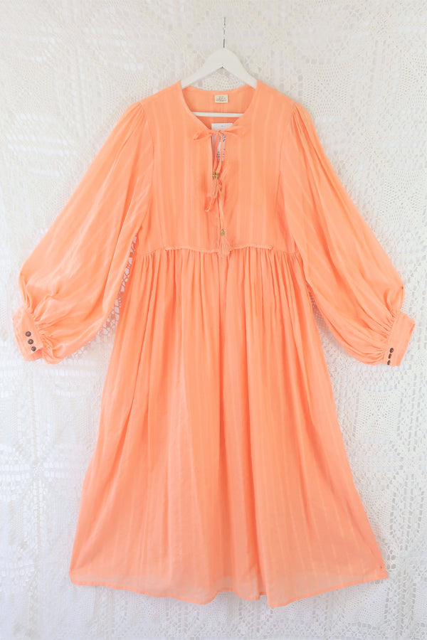 Primrose Dress - Block Colour Indian Cotton - Peach Powder - M/L