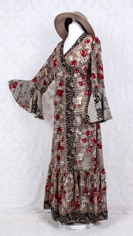 Sylvia Wrap Dress - Vintage Indian Sari - Cream, Hickory & Ruby Floral (S to M/L)