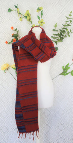 Brick Red, Cerulean & Lapis Striped Indian Shawl/Blanket