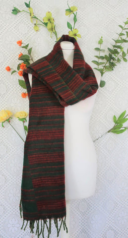 Forest Green & Brick Striped Indian Shawl/Blanket