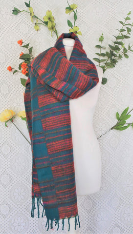 Jade, Orange & Magenta Striped Indian Shawl/Blanket