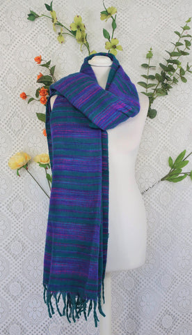 Jade, Pink & Purple Striped Indian Shawl/Blanket