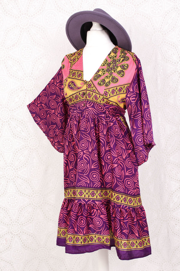 Lunar Mini Dress - Vintage Indian Sari - Flamingo & Violet Spiral - Free Size M/L