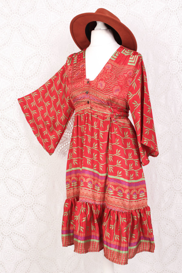 Lunar Mini Dress - Vintage Indian Sari - Vibrant Scarlet & Mint Leaf Floral - Free Size M/L