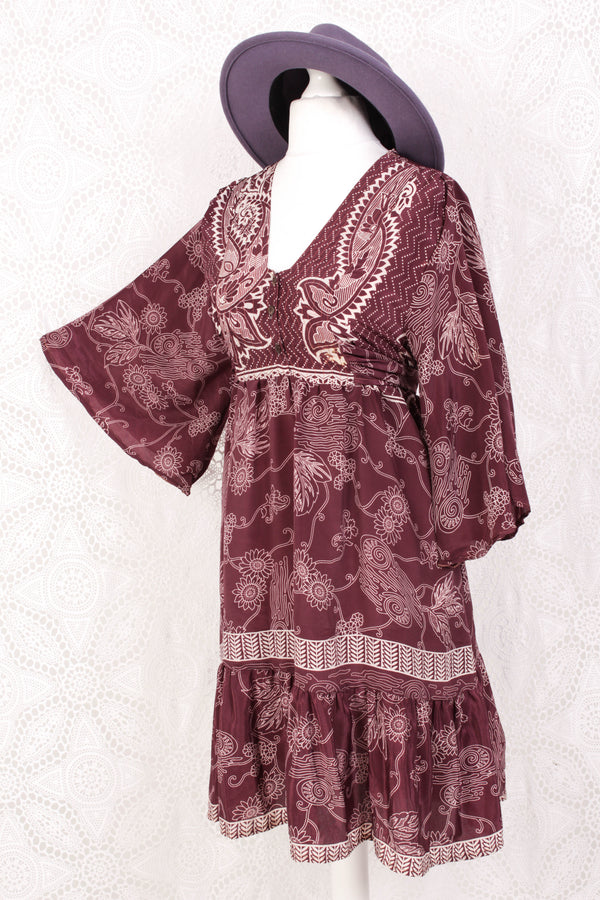 Lunar Mini Dress - Vintage Indian Sari - Deep Plum & Ivory Wildflower - Free Size M/L