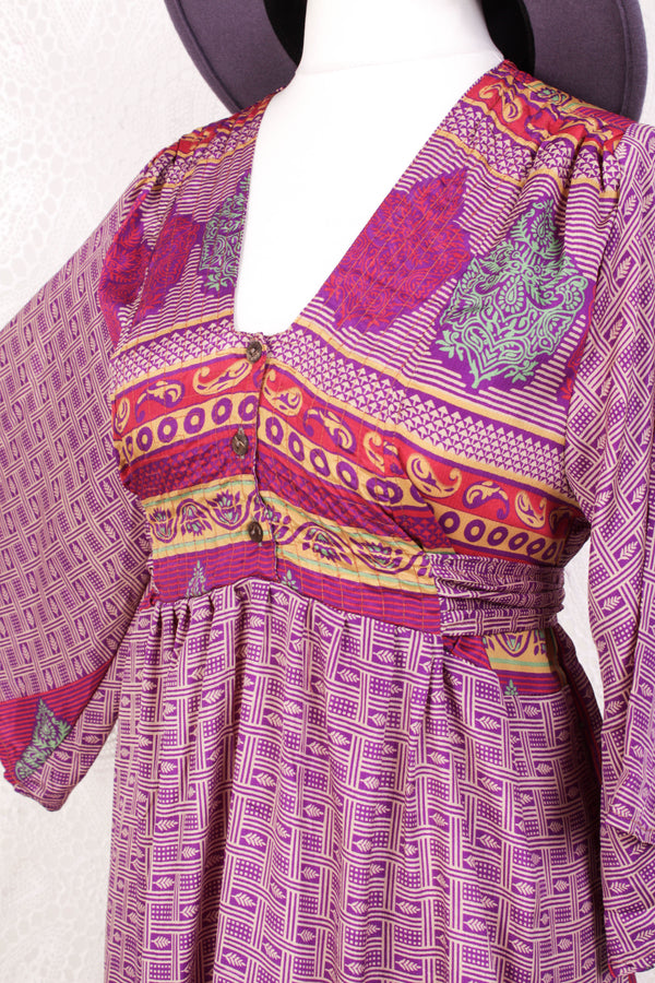 Lunar Mini Dress - Vintage Indian Sari - Deep Purple & Ivory Tile Print - Free Size M/L
