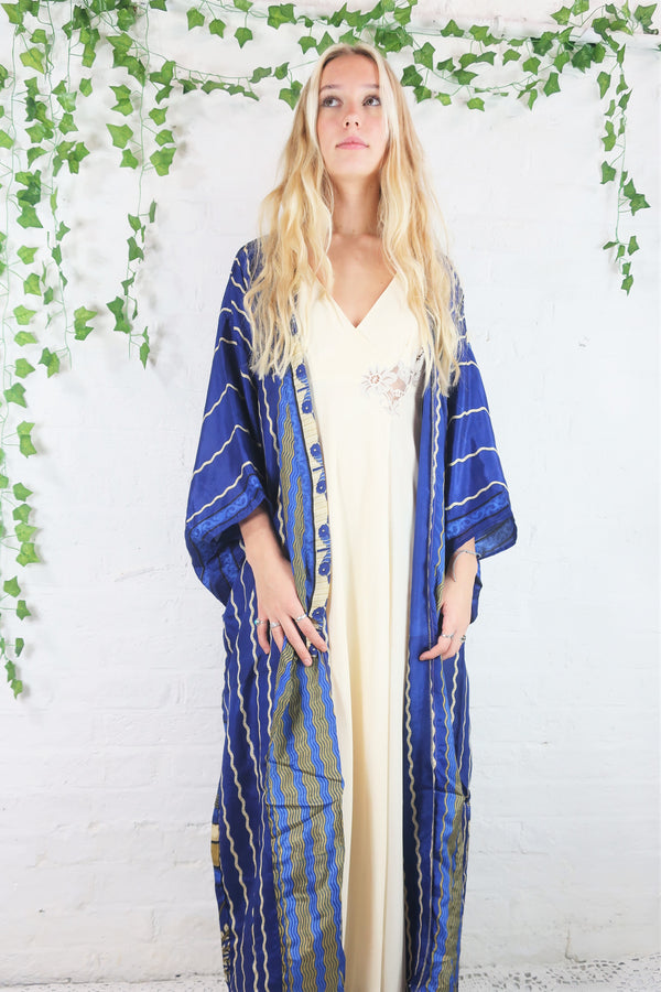 Lotus Kimono Dress - Vintage Indian Sari - Navy & Beige Waves (free size)
