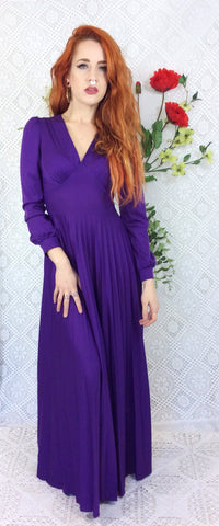 Bright Violet Purple Vintage Maxi Dress size XS / S