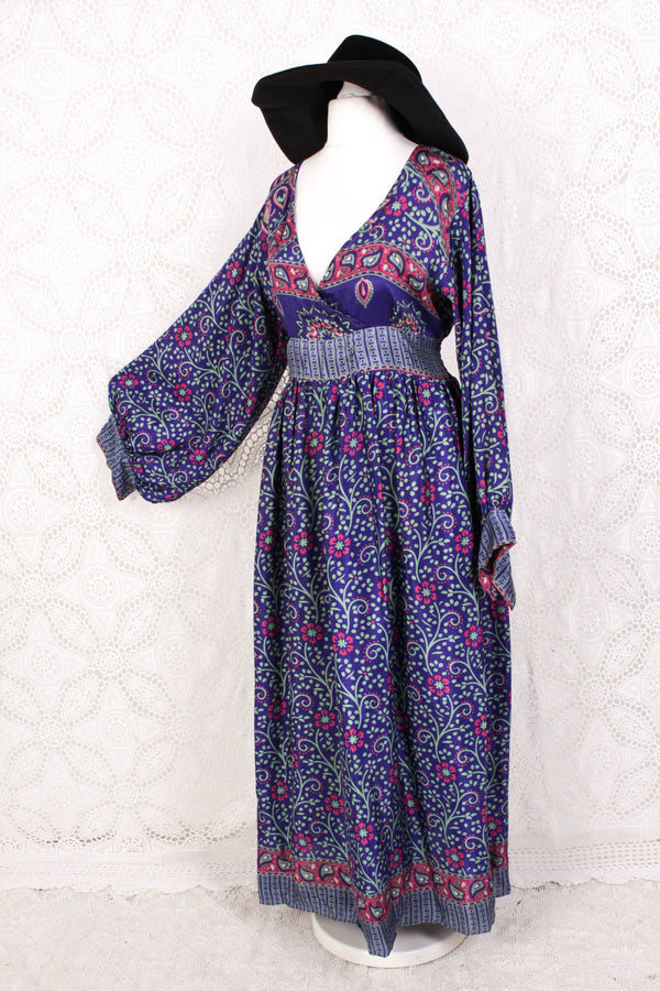 Rosemary Maxi Dress - Vintage Indian Sari - Blue Violet Floral Paisley - M/L