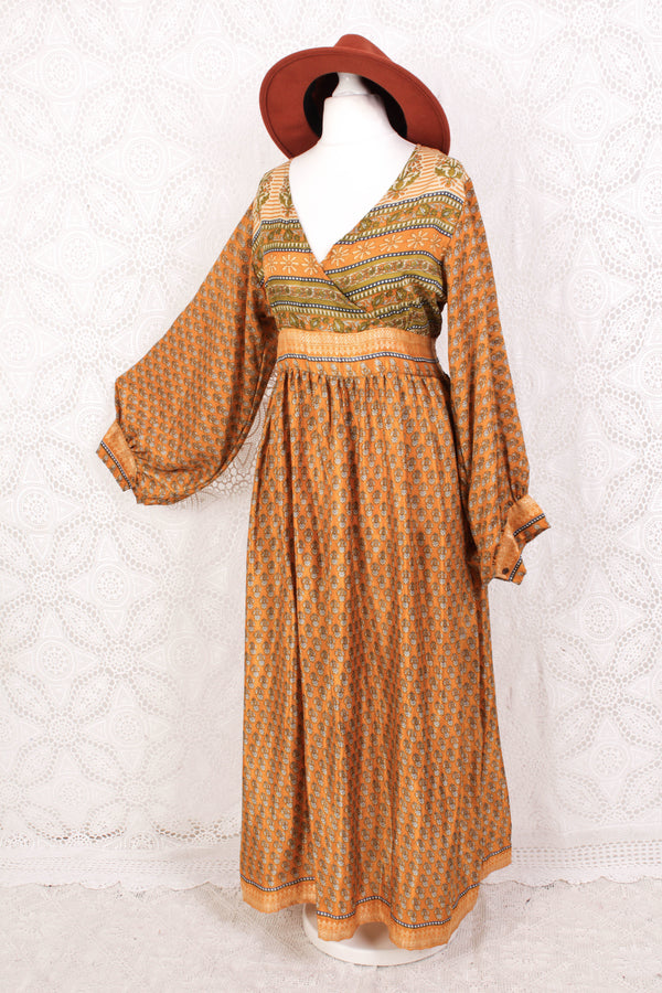 Rosemary Maxi Dress - Vintage Indian Sari - Golden Mustard & Olive Floral - M/L