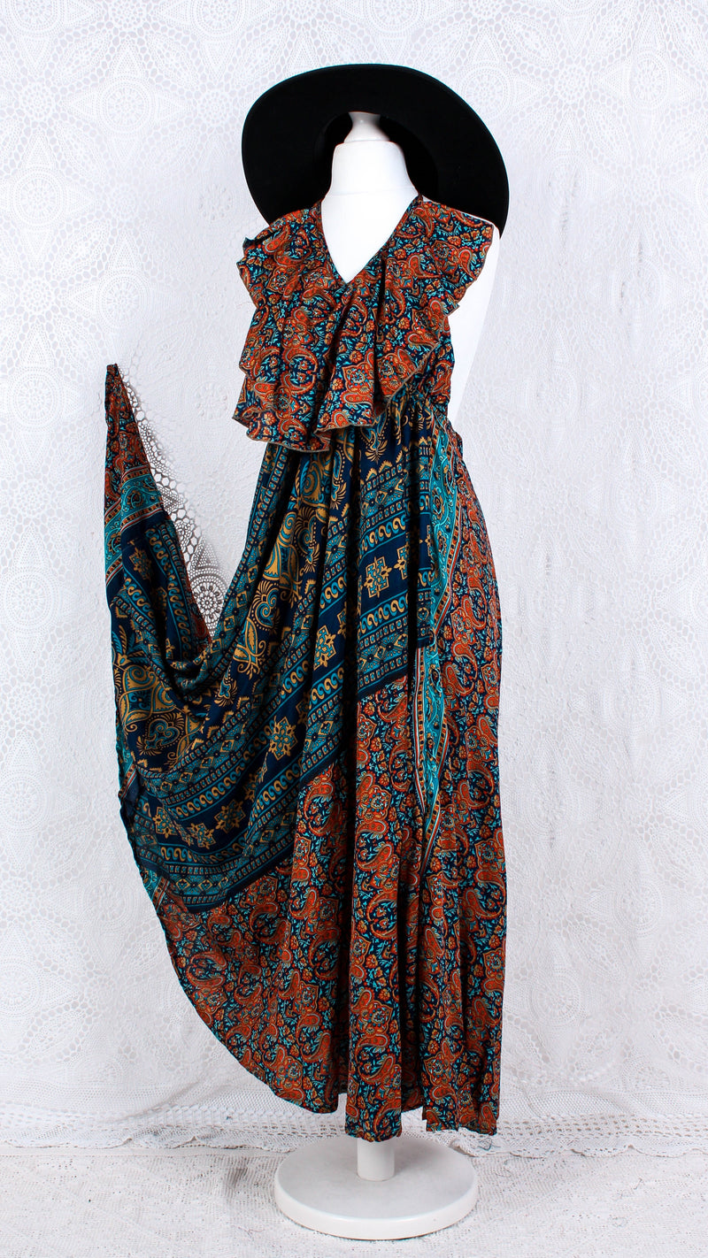 Desert Rose Halter neck - Vintage Indian Sari - Navy Blue & Orange Floral - S/M