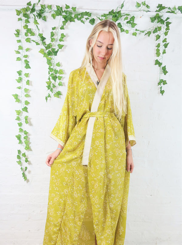 Lotus Kimono Dress - Vintage Indian Sari -  Spring Green & Ivory Floral (free size)