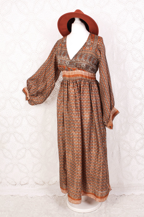 Rosemary Maxi Dress - Vintage Indian Sari - Brass & Steel Floral Motif - S/M