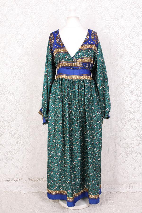 SALE - Rosemary Maxi Dress - Vintage Indian Sari - Aquatic Jade & Royal Blue Floral - M/L
