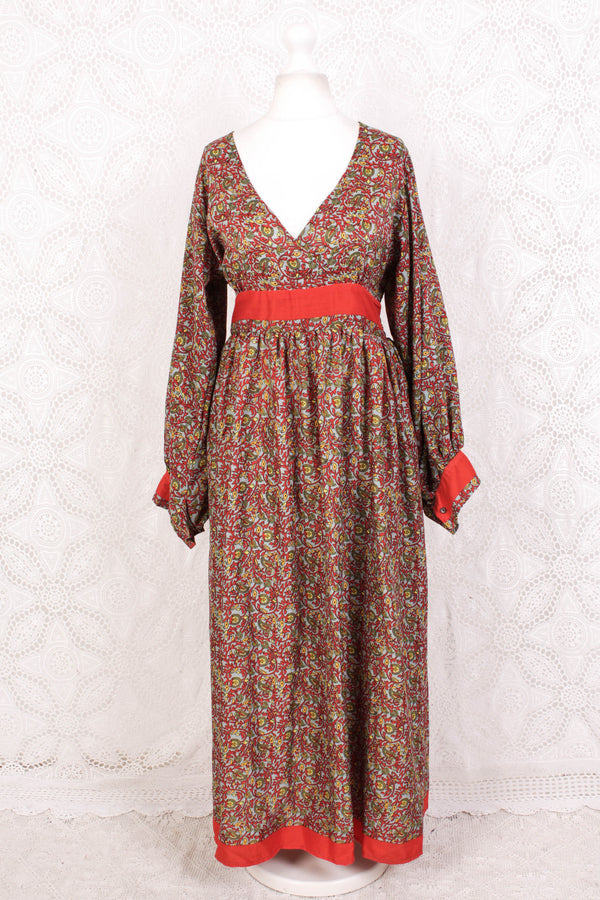 Rosemary Maxi Dress - Vintage Indian Sari - Dove, Chilli & Mustard Floral Paisley - M/L