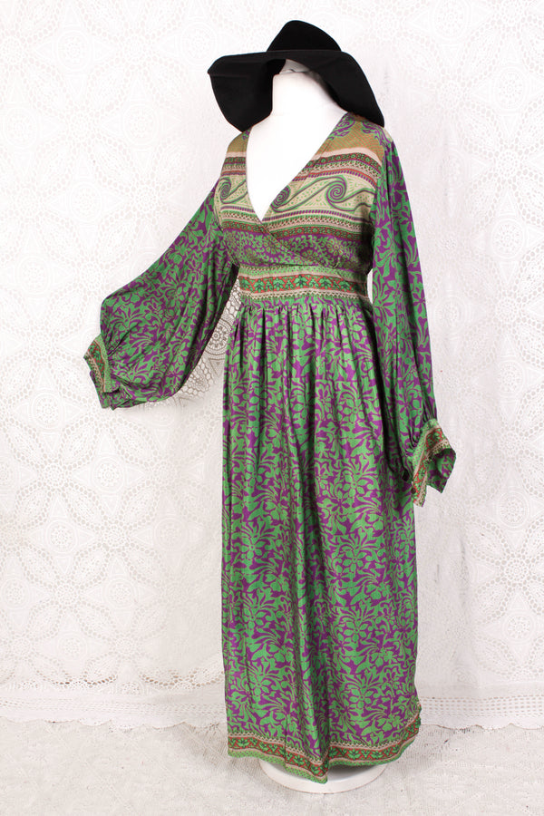 Rosemary Maxi Dress - Vintage Indian Sari - Soft Purple & Chartreuse Floral - M/L