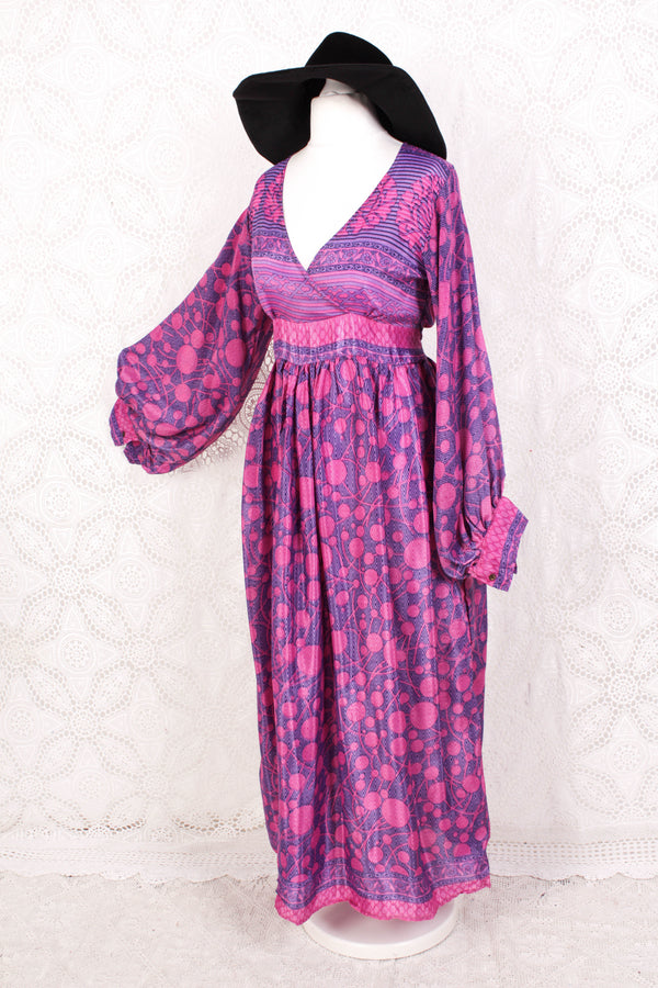 Rosemary Maxi Dress - Vintage Indian Sari - Pink & Purple Geometric - S/M