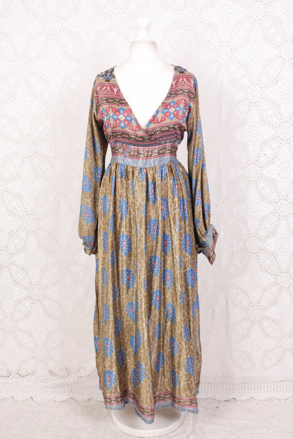 SALE - Rosemary Maxi Dress - Vintage Indian Sari - Sage, Cerulean & Muted Rouge Floral Motif - XS/S