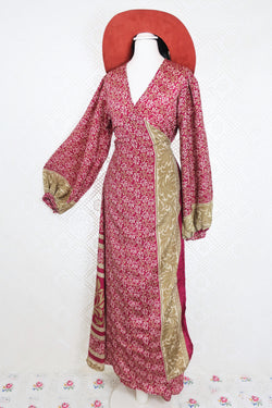 Lola Long Wrap Dress - Magenta & Fawn Floral - Vintage Indian Sari - M/L