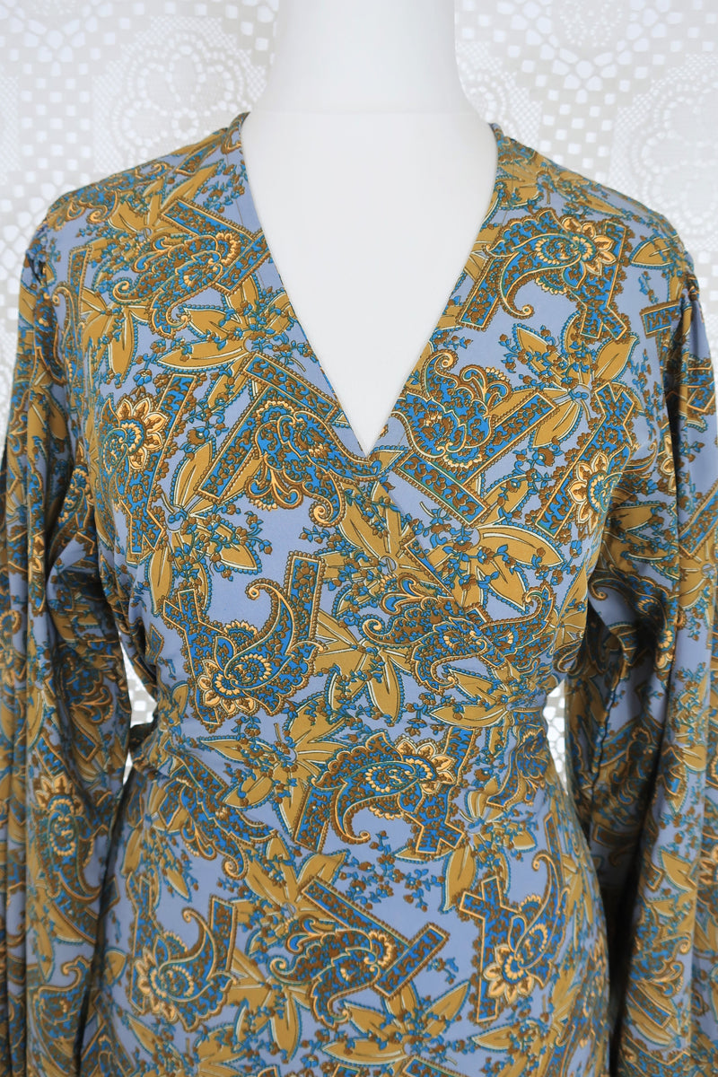 Lola Long Wrap Dress - Steel Blue & Soft Gold Paisley - Vintage Indian Sari - M/L