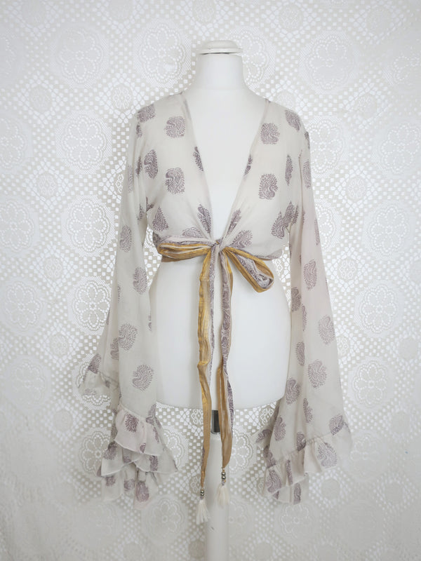 Venus Wrap Top -  Vintage Cotton Sari - Sheer Ice & Mink Paisley - XS