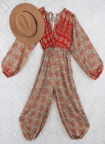 Suki Jumpsuit - Vintage Silk Sari Mix - Red, Coral & Cream Paisley - M/L