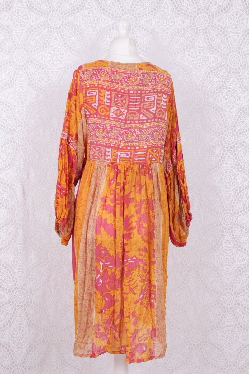 Daisy Midi Smock Dress - Vintage Indian Cotton - Coral & Orange Abstract - M/L