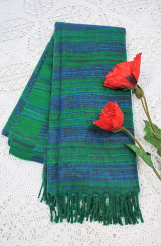 Emerald Green, Aqua, Navy & Rust Striped Indian Shawl/Blanket