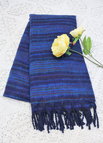 Indigo, Rust, Royal & Aqua Blue Striped Indian Shawl/Blanket