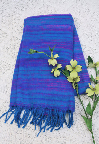 Bright Sea Blue, Magenta & Purple Striped Indian Shawl/Blanket