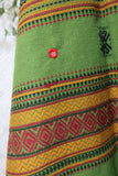 Embroidered & Mirrored Blanket/Shawl - Grass Green with Ruby/Black/Ochre Pattern