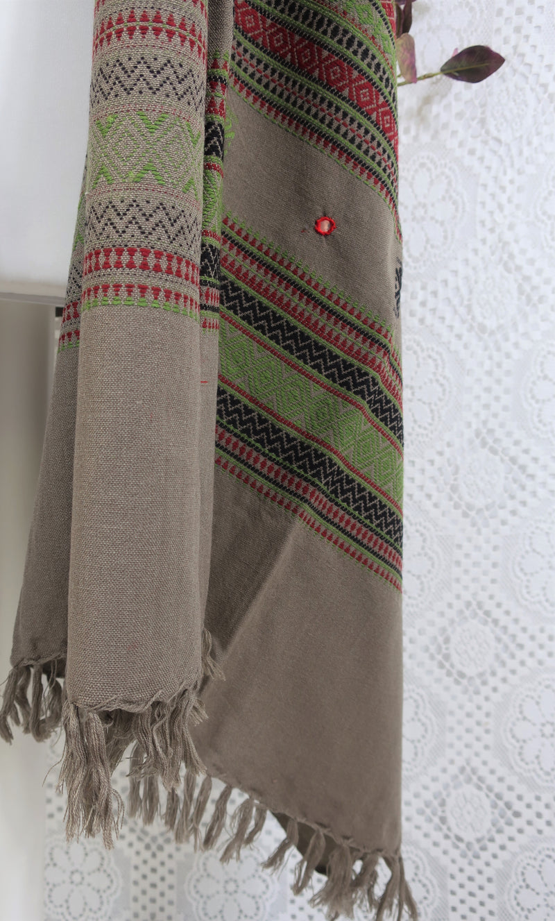 Embroidered & Mirrored Blanket/Shawl - Hazelwood Grey with Ruby/Black/Green Pattern