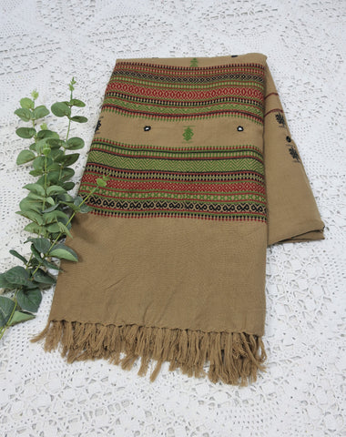 Embroidered & Mirrored Blanket/Shawl - Oat with Ruby/Black/Grass Pattern